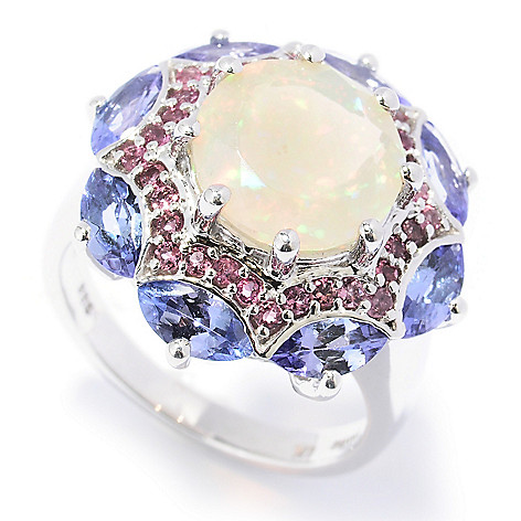 130-054 - Gem Insider Sterling Silver 5.37ctw Opal, Pink Tourmaline & Tanzanite Ring