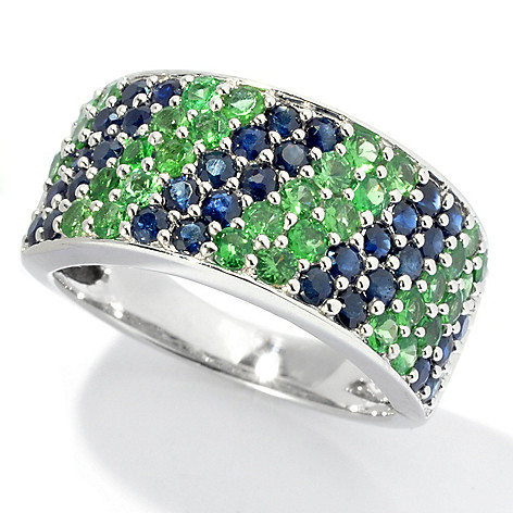 130-057 - Gem Treasures Sterling Silver 1.98ctw Sapphire & Tsavorite Wide Band Ring