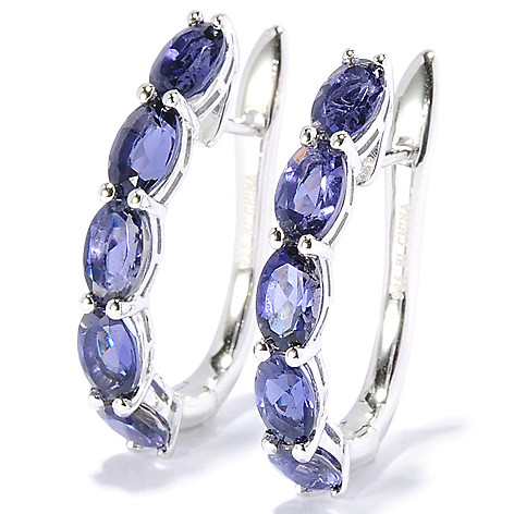 130-059 - Gem Treasures Sterling Silver 1'' Gemstone U-Shape Hoop Earrings