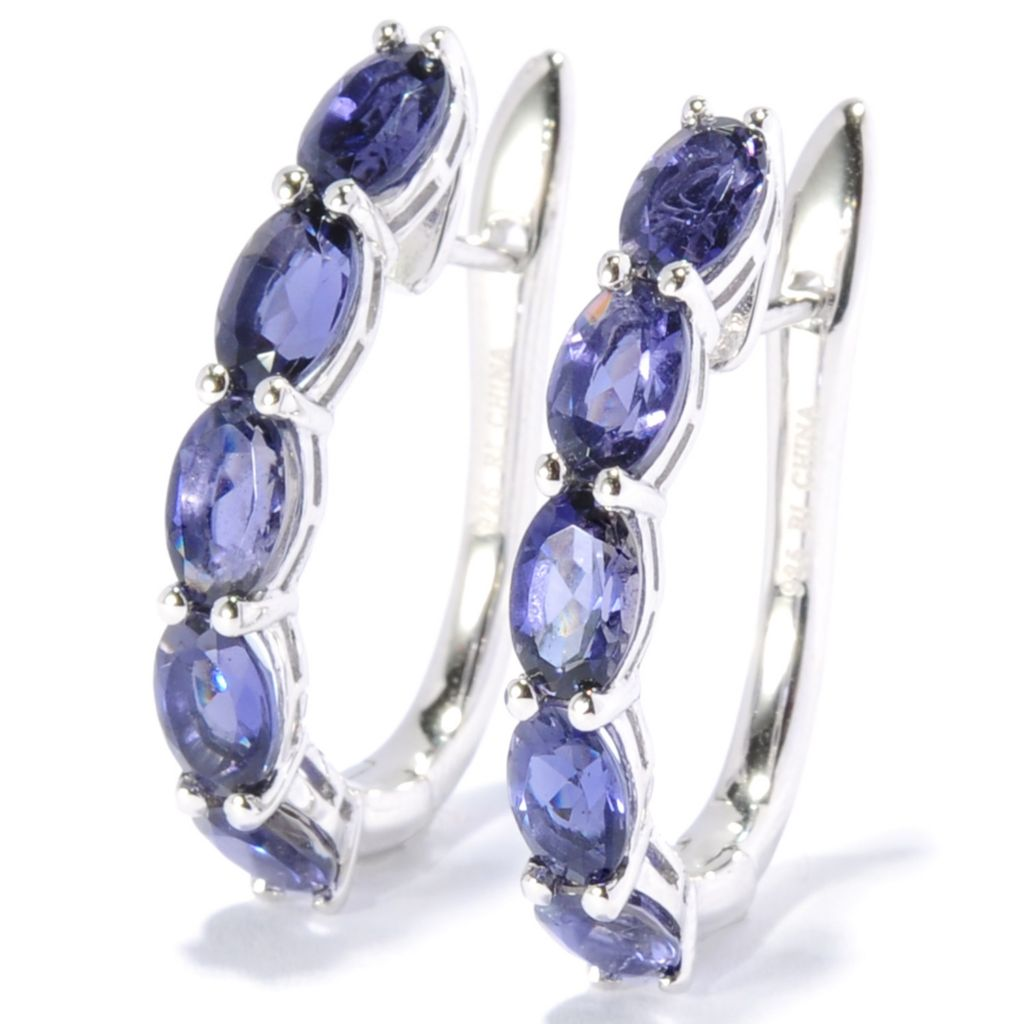 "130-059 - Gem Treasures Sterling Silver 1"" Gemstone U-Shape Hoop Earrings"