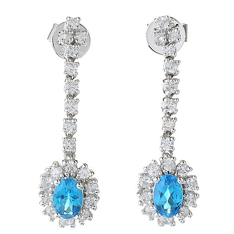 130-060 - Gem Treasures Sterling Silver 1'' 2.16ctw Neon Blue Apatite & White Zircon Earrings
