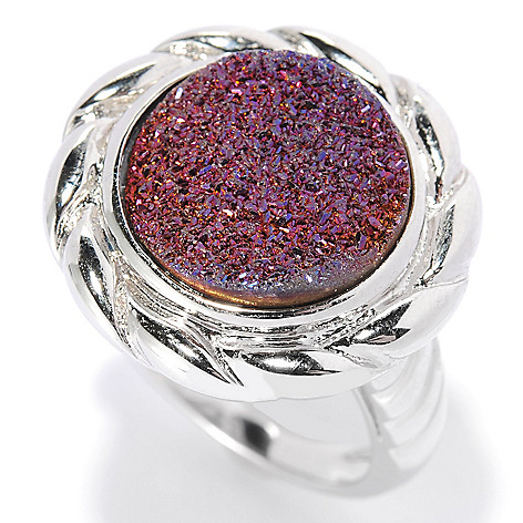 130-061 - Gem Insider® Sterling Silver 14mm Drusy Twisted Ring