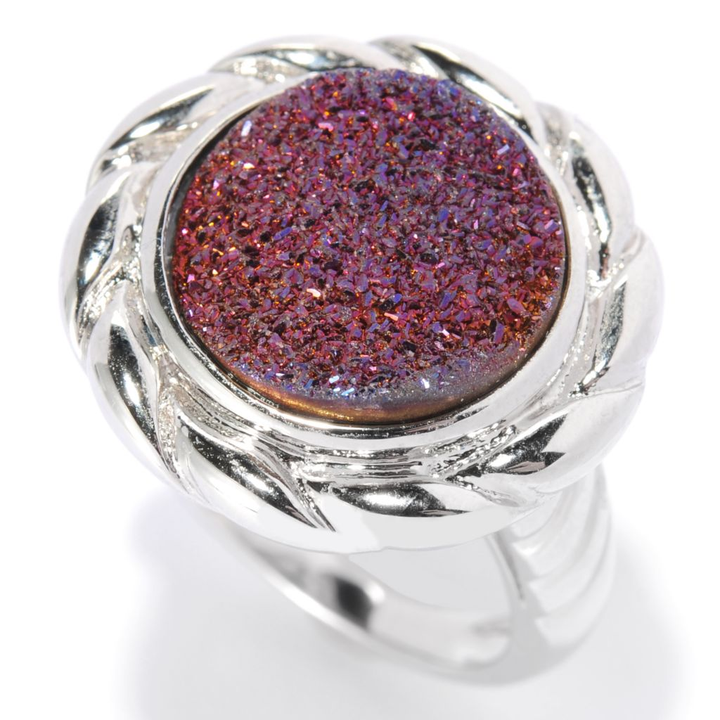 130-061 - Gem Insider Sterling Silver 14mm Drusy Twisted Ring