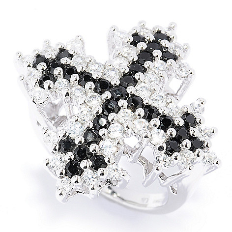130-062 - Gem Treasures Sterling Silver 3.14ctw Black Spinel & White Zircon Cross Ring