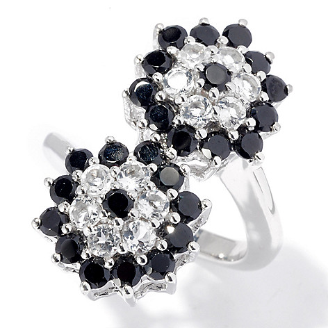 130-064 - Gem Treasures Sterling Silver 3.80ctw Spinel & White Topaz Double Flower Ring