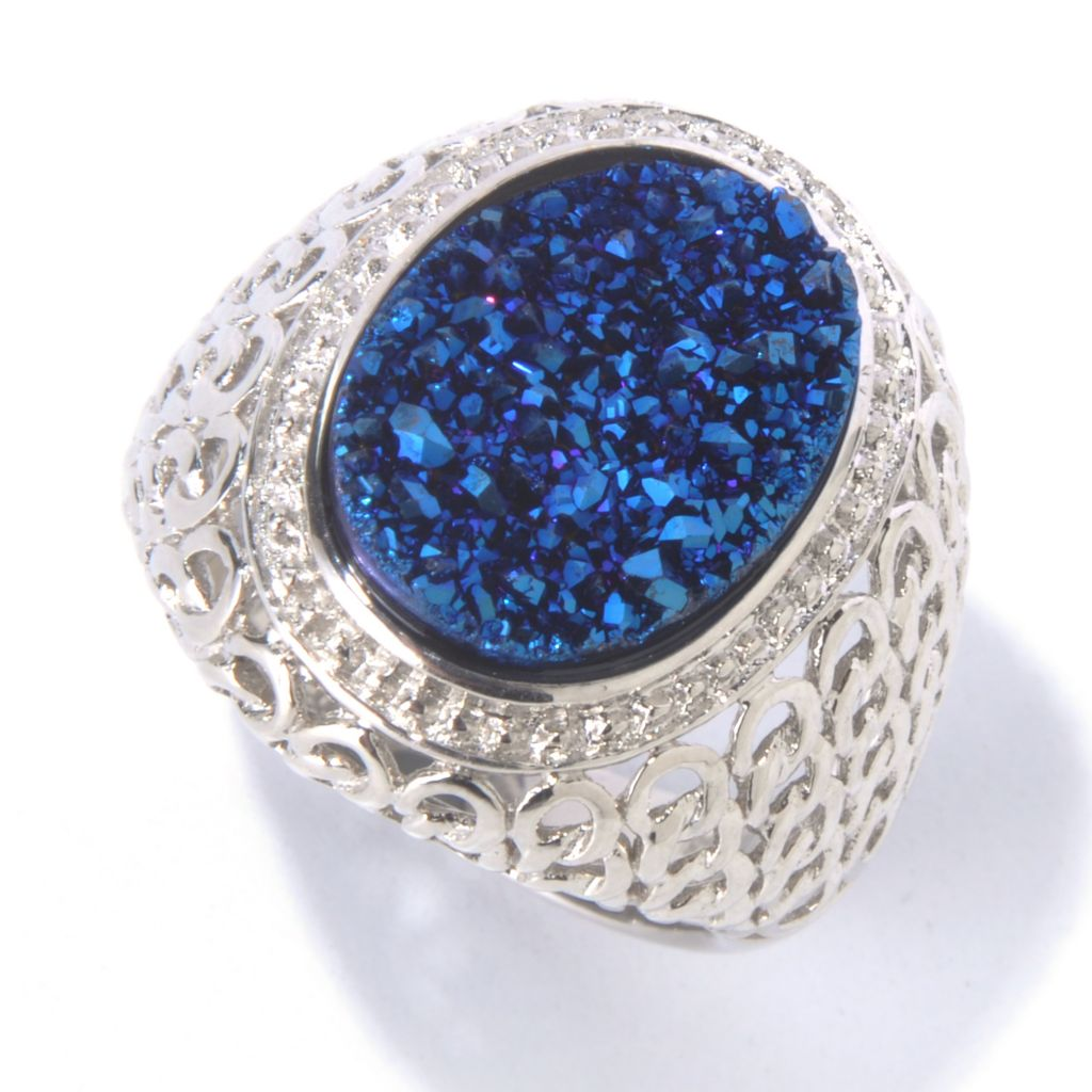 130-065 - Gem Insider Sterling Silver 15.5 x 13mm Oval Blue Drusy Chain Link Ring