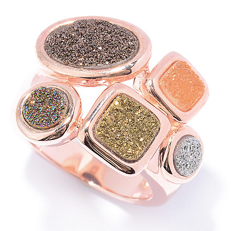 130-067 - Gem Insider™ 14K Rose Gold Embraced™ Multi Color Drusy Ring
