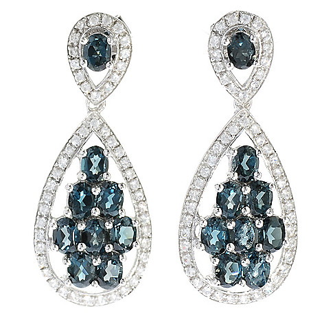 130-070 - Gem Treasures Sterling Silver 4.38ctw Topaz & Zircon Teardrop Dangle Earrings