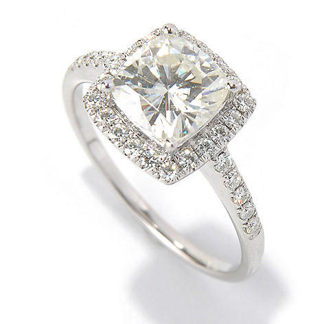 130-086 - Forever Brilliant® Moissanite 14K Gold 2.00 DEW Cushion Cut Halo Ring