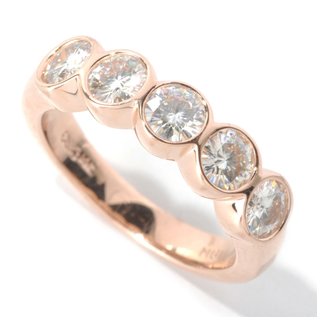 130-091 - Forever Brilliant® Moissanite 14K Gold 1.15 DEW Bezel Set Five-Stone Ring