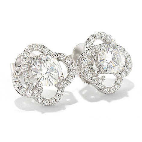 130-095 - Forever Brilliant® Moissanite 14K White Gold 2.32 DEW Clover Stud Earrings