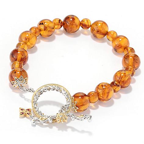 130-110 - Gems en Vogue 8'' Baltic Amber Bead & Orange Sapphire Toggle Bracelet