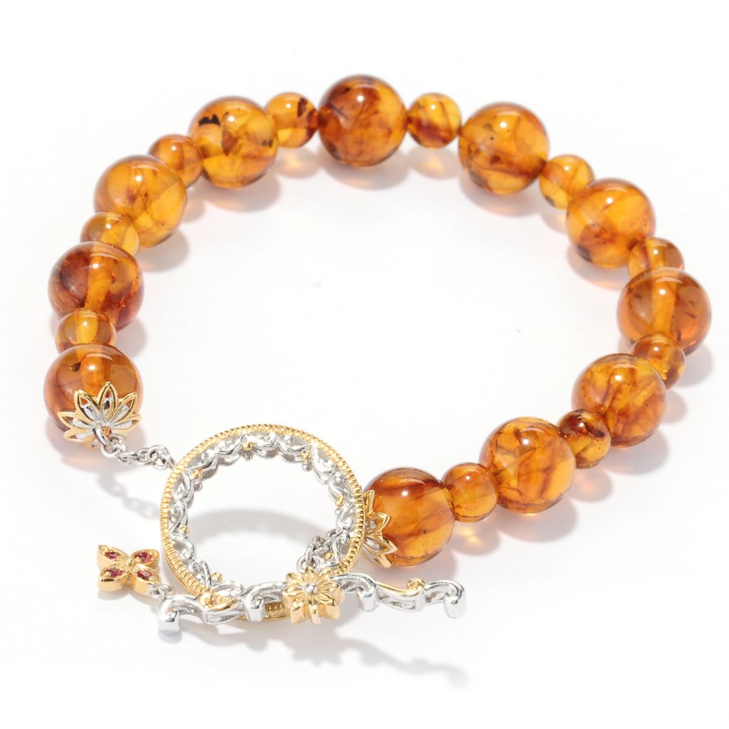 "130-110 - Gems en Vogue II 8"" Baltic Amber Bead & Orange Sapphire Toggle Bracelet"