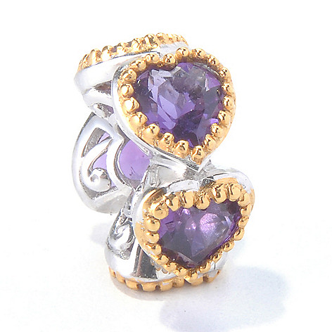 130-112 - Gems en Vogue 1.75ctw Amethyst ''Five Hearts'' Slide-on Charm