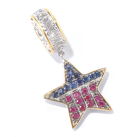 130-113 - Gems en Vogue Sapphire & Ruby USA Star Drop Charm