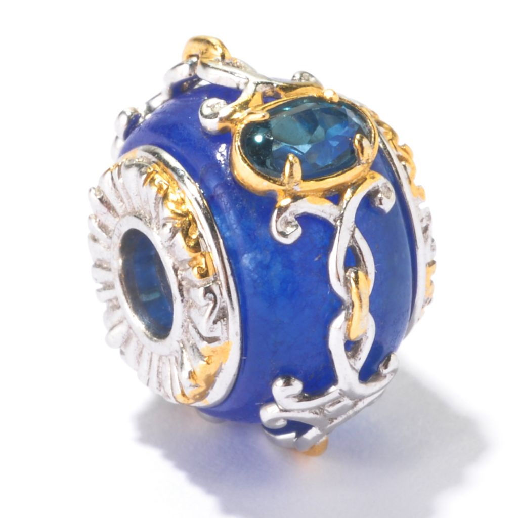 130-118 - Gems en Vogue Blue Jade & London Blue Topaz Charm