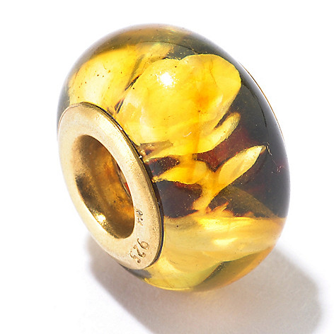 130-120 - Gems en Vogue Carved Amber Rose Print Intaglio Charm