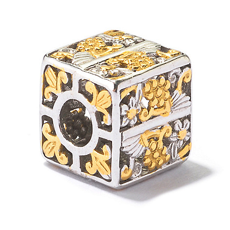 130-121 - Gems en Vogue II Two-tone Floral Print Cube Slide-on Charm