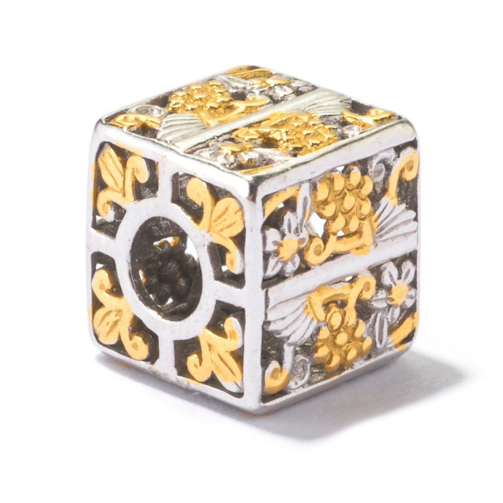 130-121 - Gems en Vogue Two-tone Floral Print Cube Slide-on Charm