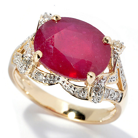 130-123 - Gem Treasures 14K Gold 7.85ctw Oval Innova Ruby & Diamond Ring