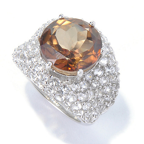 130-124 - Gem Treasures Sterling Silver 11.00ctw Round Chocolate & White Topaz Ring