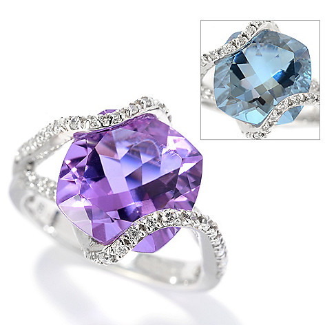 130-127 - Brilliante® 4.40 DEW Cushion Cut Color Change Alexite® & Simulated Diamond Overlay Ring