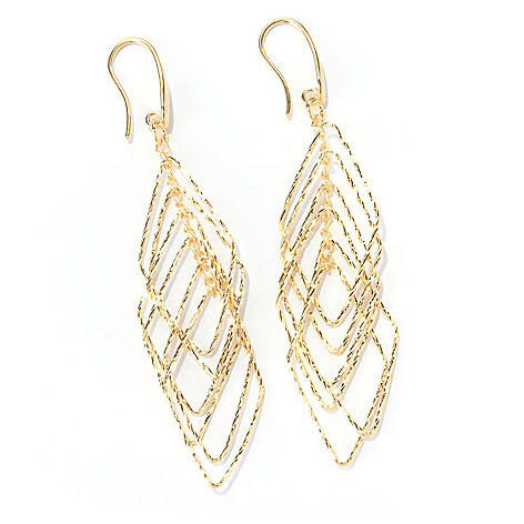 130-134 - Scintilloro™ Gold Embraced™ Tiered Diamond Shaped Dangle Earrings