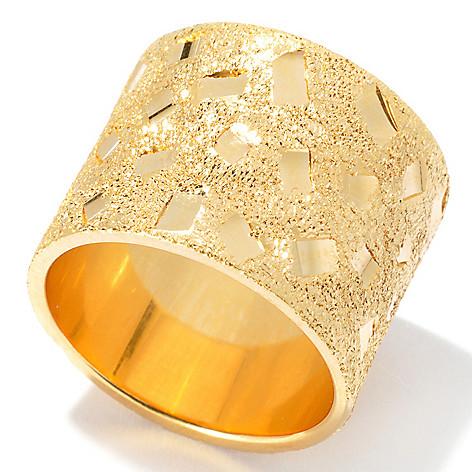 130-137 - Scintilloro™ Gold Embraced™ Diamond Cut & Sandblasted Confetti Ring