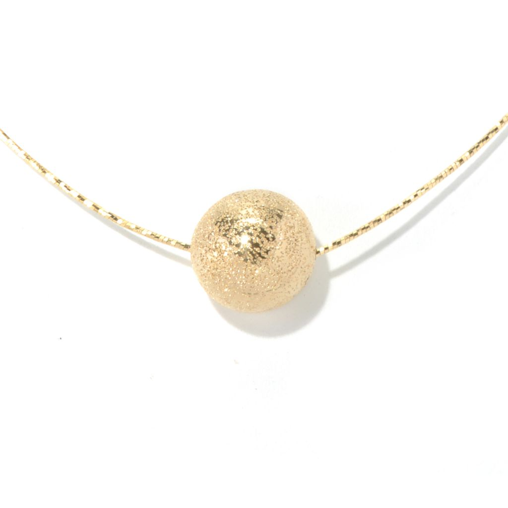 "130-138 - Scintilloro™ Gold Embraced™ 18"" Pave Bead Diamond Cut Necklace"