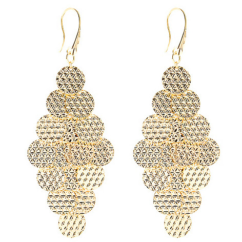 130-142 - Scintilloro™ Gold Embraced™ Diamond Cut 7-Tier Chandelier Earrings
