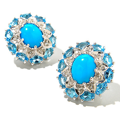 130-152 - Gem Insider Sterling Silver 10 x 8mm Sleeping Beauty Turquoise & Topaz Earrings