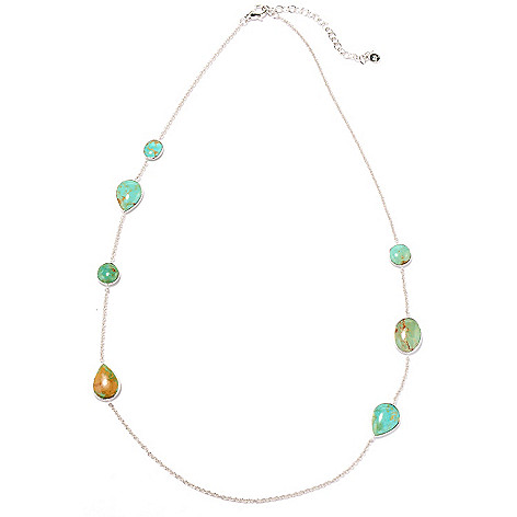 130-154 - Gem Insider™ Sterling Silver 24'' Blue-Green Kingman Turquoise Station Necklace