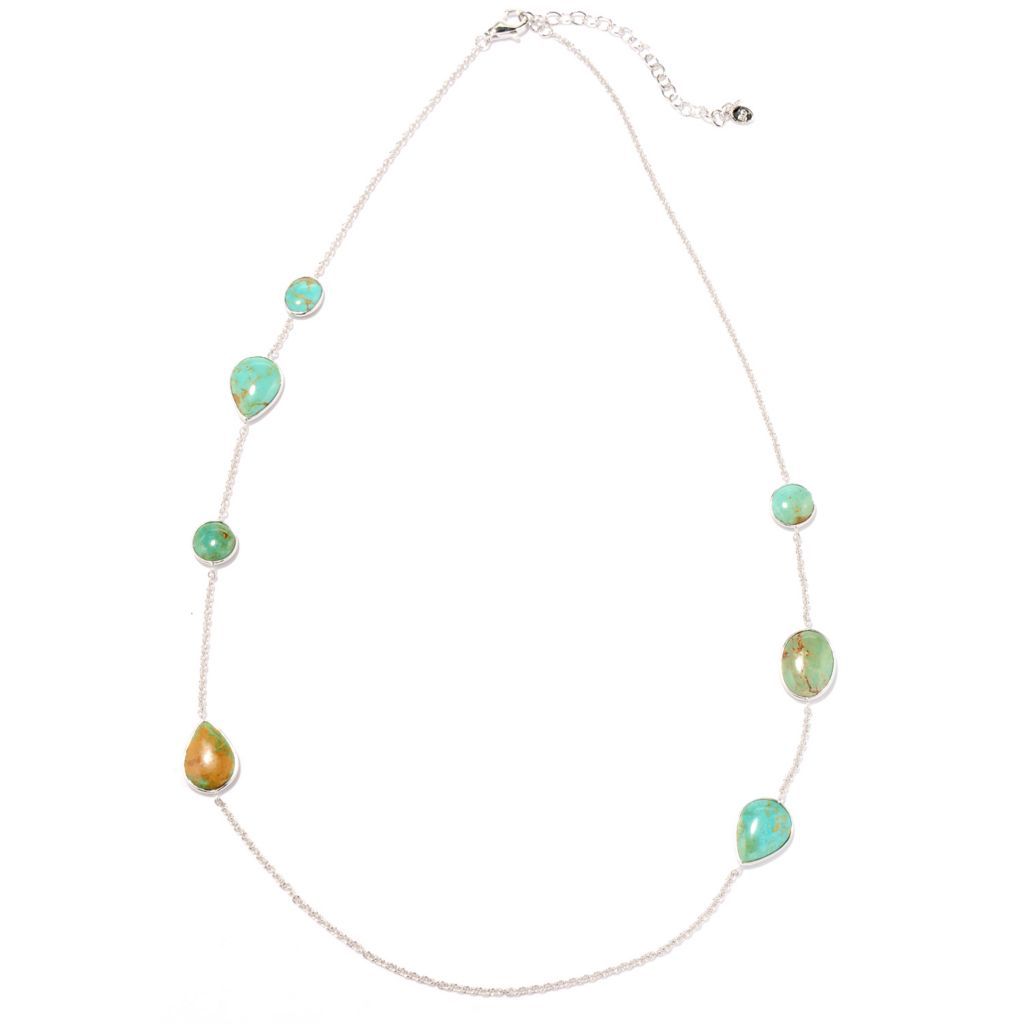 "130-154 - Gem Insider Sterling Silver 24"" Blue-Green Kingman Turquoise Station Necklace"