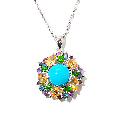 130-155 - Gem Insider™ Sterling Silver 11mm Sleeping Beauty Turquoise & Multi Gem Pendant