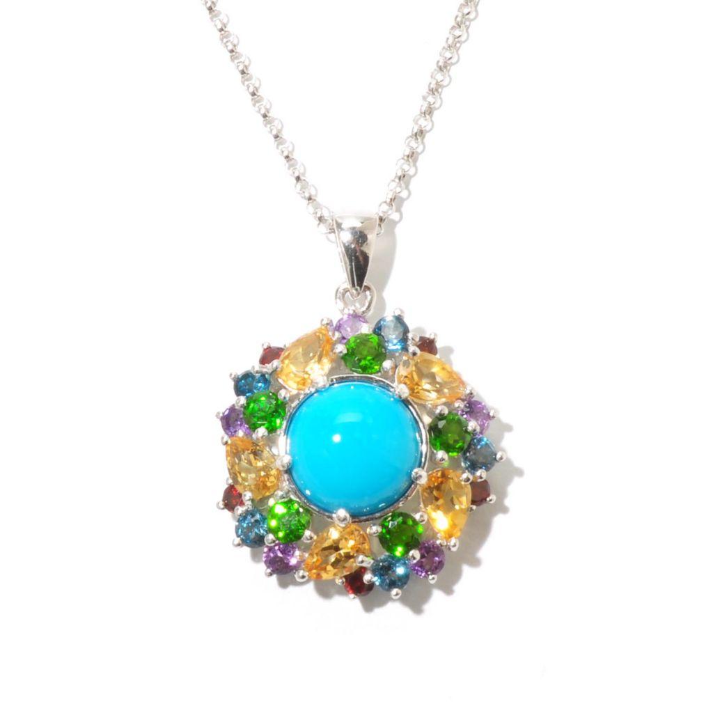 130-155 - Gem Insider Sterling Silver 11mm Sleeping Beauty Turquoise & Multi Gem Pendant