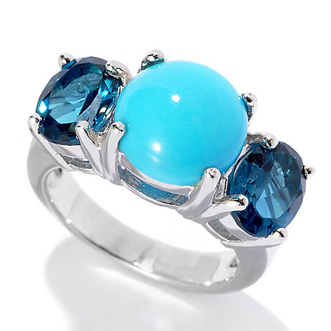 130-158 - Gem Insider® Sterling Silver 10mm Sleeping Beauty Turquoise & Topaz Ring