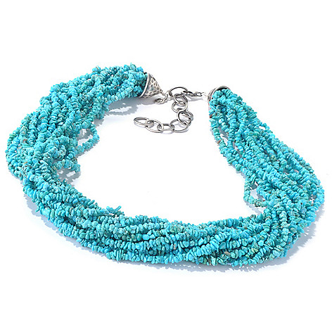 130-161 - Gem Insider™ Sterling Silver 18'' Multi Strand Turquoise Chip Bead Necklace
