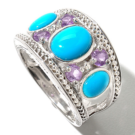 130-164 - Gem Insider Sterling Silver Oval Sleeping Beauty Turquoise & Amethyst Ring
