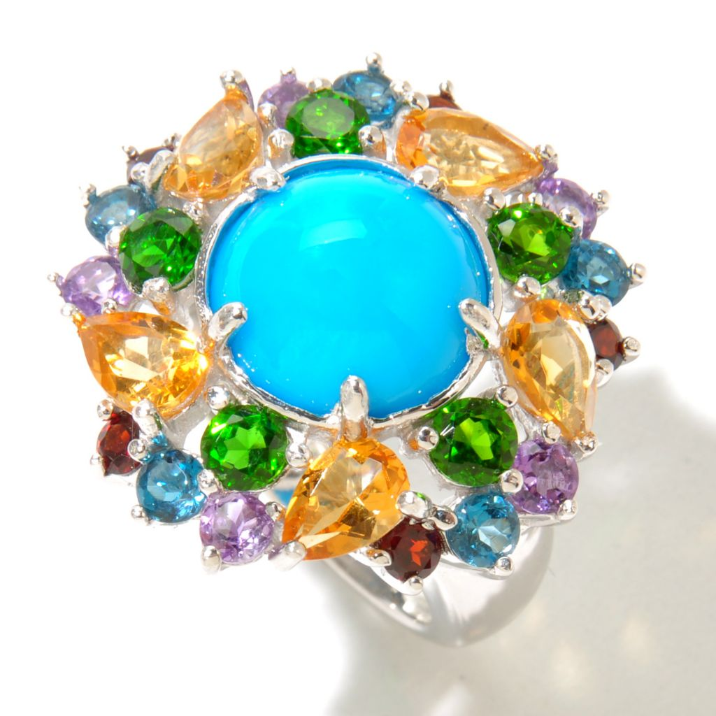 130-165 - Gem Insider Sterling Silver 11mm Sleeping Beauty Turquoise & Multi Gem Ring