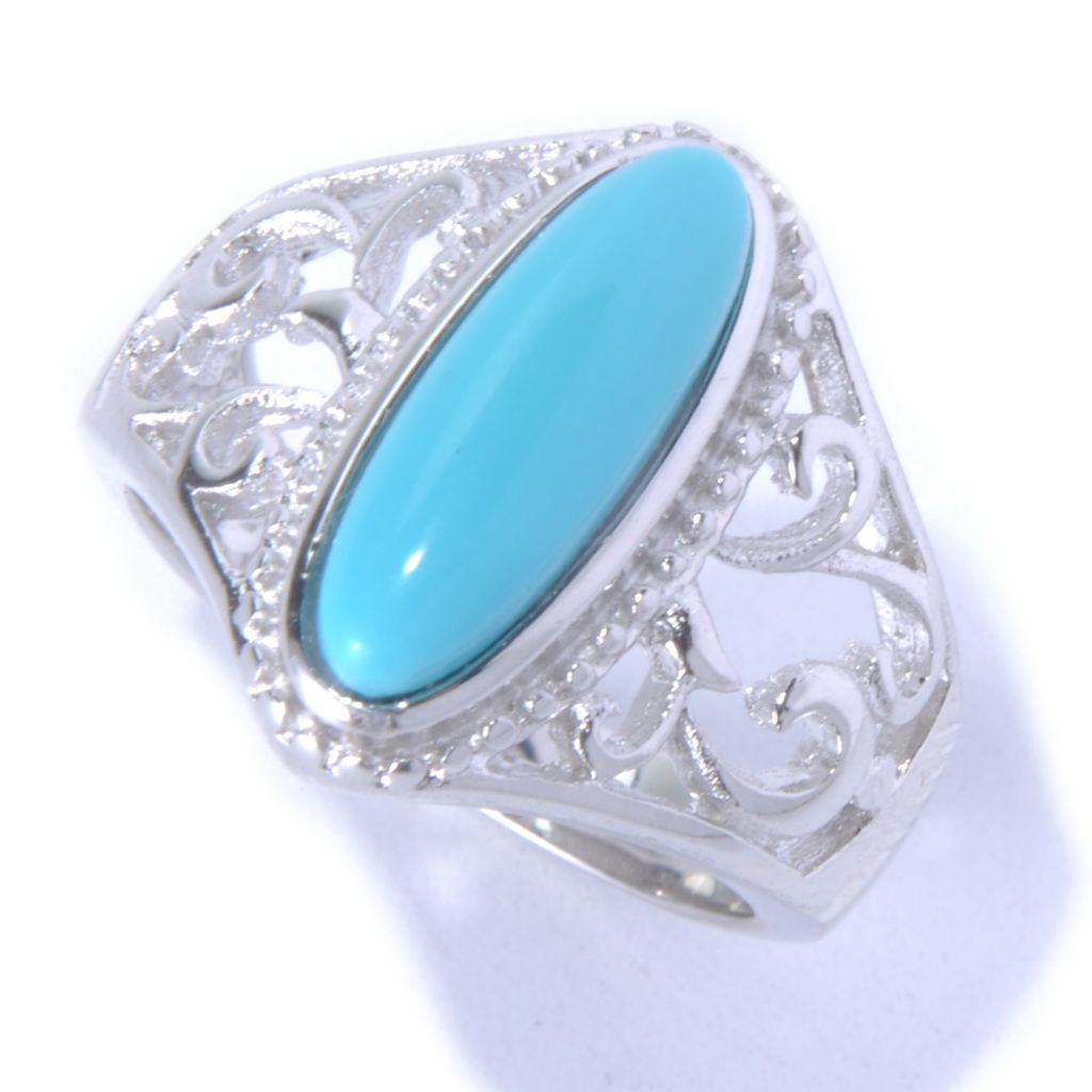 130-170 - Gem Insider Sterling Silver 14 x 5mm Sleeping Beauty Turquoise North-South Ring