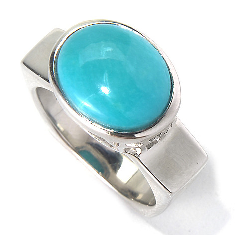 130-171 - Gem Insider Sterling Silver 11 x 9mm Sleeping Beauty Turquoise Square Shank Ring