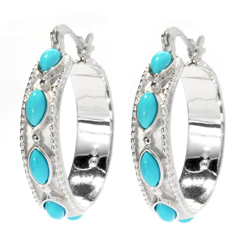 "130-172 - Gem Insider Sterling Silver 1.25"" Sleeping Beauty Turquoise Hoop Earrings"