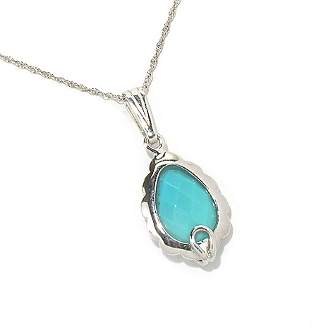 130-173 - Gem Insider Sterling Silver 14 x 10mm Sleeping Beauty Turquoise Pendant w/ Chain