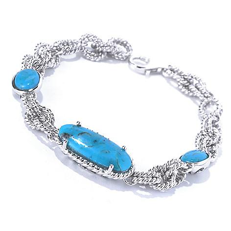 130-175 - Gem Insider™ Sterling Silver 7.25'' Kingman Turquoise Station Bracelet
