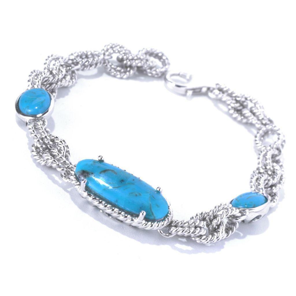 "130-175 - Gem Insider Sterling Silver 7.25"" Kingman Turquoise Station Bracelet"