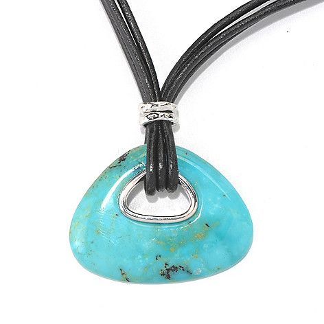 130-177 - Gem Insider 35 x 27mm Kingman Turquoise Pendant w/ 18'' Leather Multi Cord Chain