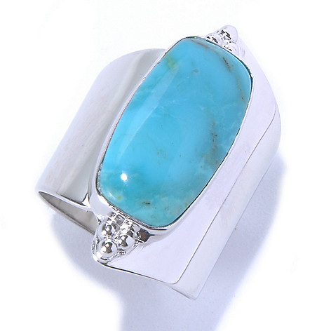 130-178 - Gem Insider Sterling Silver 19 x 10mm Kingman Turquoise North-South Ring