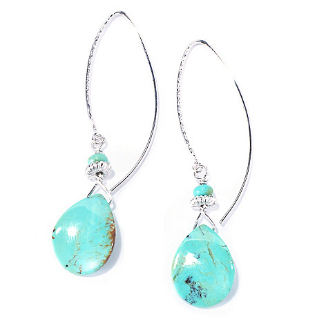 130-180 - Gem Insider Sterling Silver 2.5'' 18 x 14mm Kingman Turquoise Drop Earrings