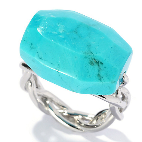 130-183 - Gem Insider Sterling Silver 19 x 12mm Arizona Kingman Turquoise Braid Shank Ring