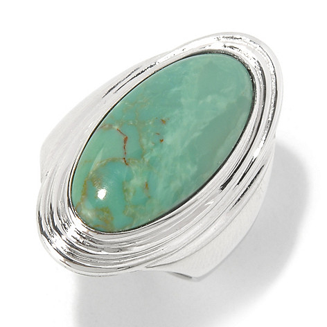 130-184 - Gem Insider Sterling Silver 20 x 10mm Oval Kingman Turquoise North-South Ring
